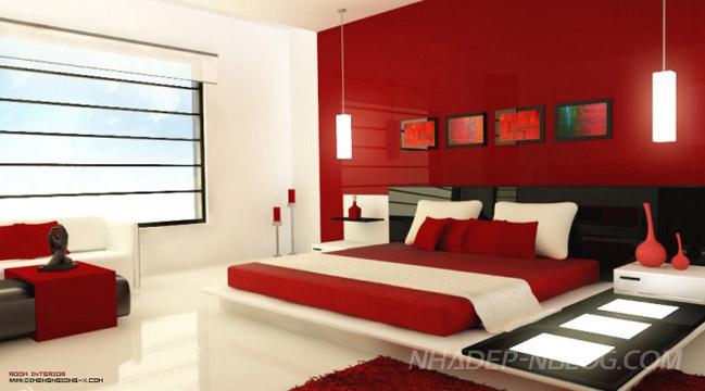 Phòng ngủ đẹp với tông màu đỏ