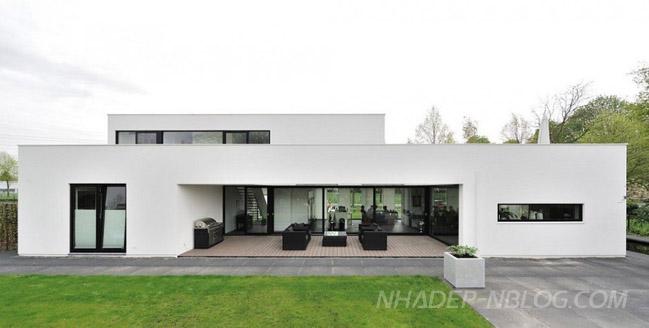 Nhà đẹp với thiết kế hiện đại trong tông màu trắng