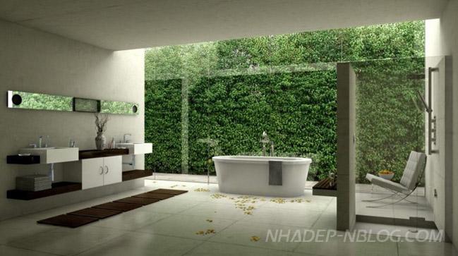 Thiết kế nội thất phòng tắm thân thiện với thiên nhiên