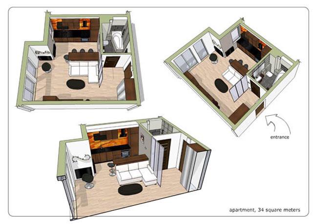 Sơ đồ căn hộ chung cư diện tích nhỏ