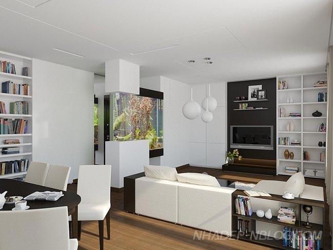 Ngắm căn hộ sang trọng với 2 màu trắng và nâu