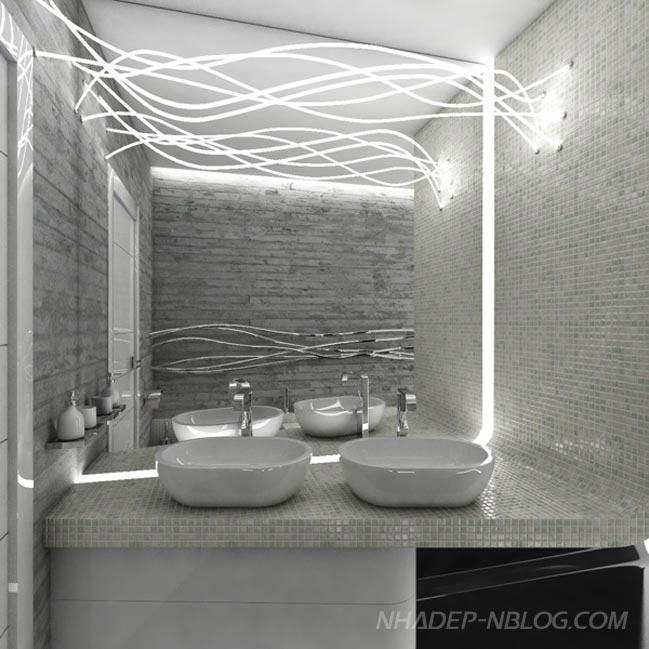 Nội thất phòng tắm hiện đại với 3 màu đen trắng xám