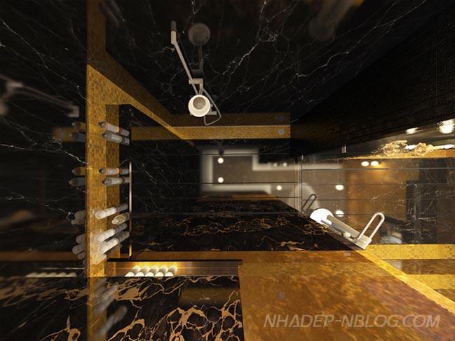 Nội thất phòng tắm sang trọng với 2 màu đen vàng