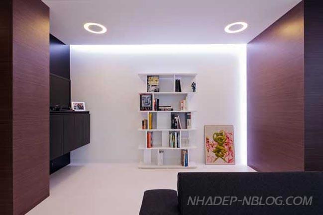 Căn hộ penthouse sang trọng với 3 màu trắng,đen và nâu