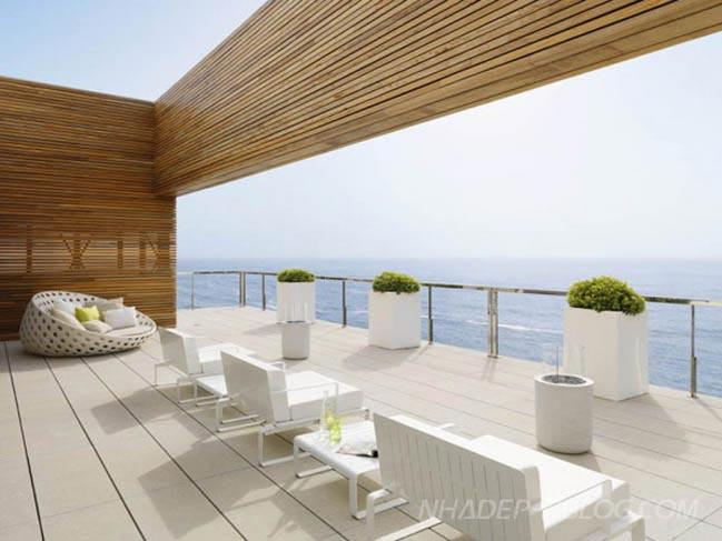 Biệt thự với tông màu trắng cùng cảnh biển tuyệt đẹp