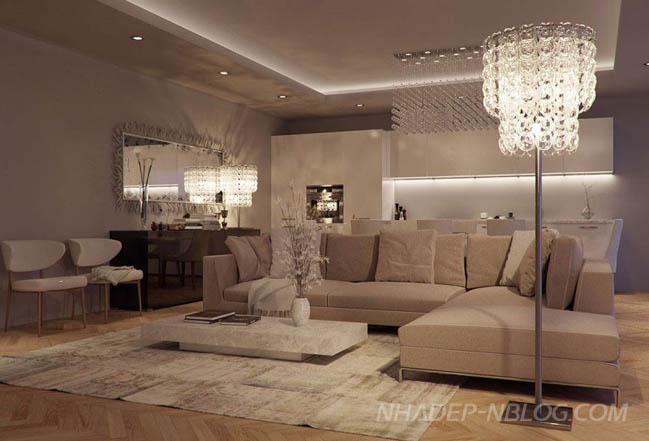 Nội thất phòng khách đẹp sang trọng với thiết kế đương đại