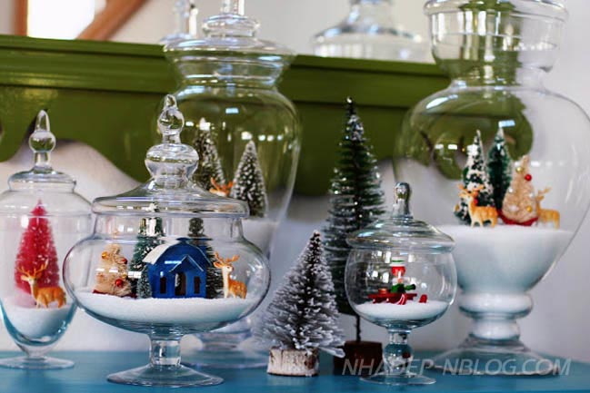 Tự làm các bình thủy tinh trang trí mùa giáng sinh