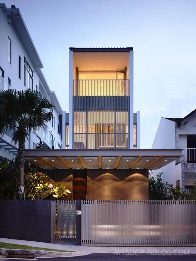 Mẫu nhà phố đẹp 2 tầng với hồ bơi ấn tượng