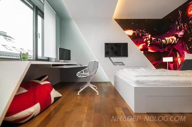 Mẫu phòng ngủ đẹp với tranh hoạt hình ấn tượng