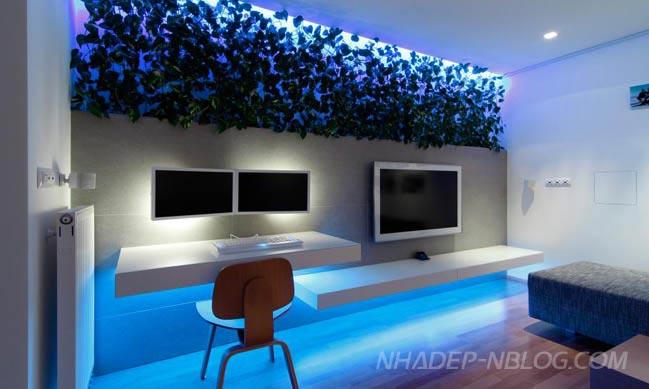 Căn hộ chung cư đẹp với hệ thống đèn LED đổi màu