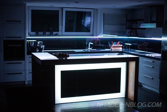 Nội thất nhà bếp đẹp với đèn LED lung linh