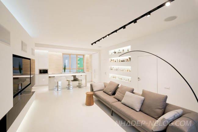 Mẫu nhà đẹp với tông màu trắng nhạt đơn giản