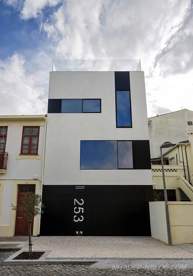 Nhà phố đẹp hiện đại với 2 màu trắng đen