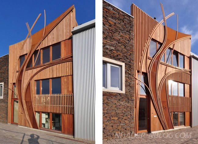 Mẫu nhà đẹp 2 tầng với thiết kế gỗ ấn tượng