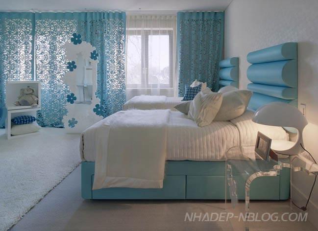 15 mẫu nội thất phòng ngủ với tông màu xanh