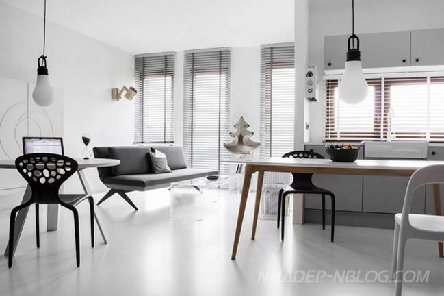 Mẫu thiết kế nhà đẹp với 2 màu trắng đen tương phản
