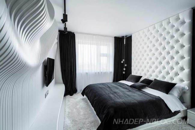 Nội thất phòng ngủ với bức tường lượn sóng sang trọng
