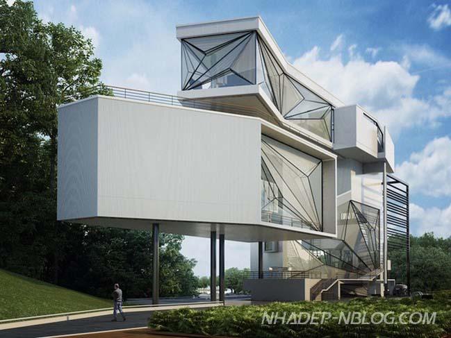 Biệt thự đẹp với kiến trúc hình học độc đáo