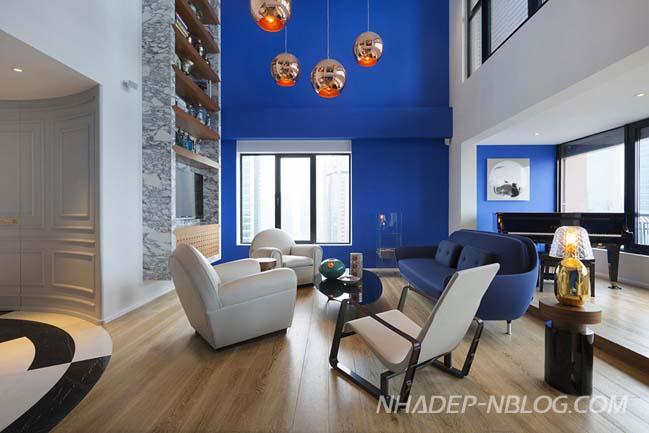 Penthouse sang trọng với màu xanh cá tính