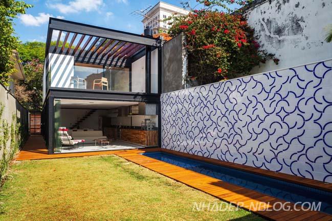 Mẫu nhà phố đẹp hình chữ nhật với kiến trúc hiện đại