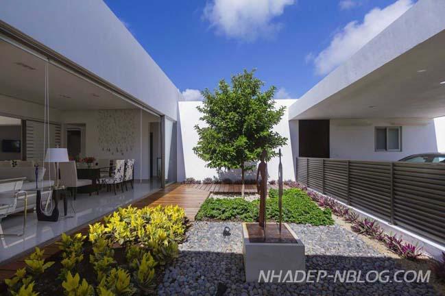 Biệt thự đẹp màu trắng nổi bật giữa không gian xanh