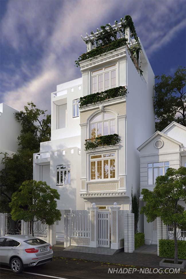 Mẫu nhà phố đẹp với kiến trúc cổ điển Châu Âu