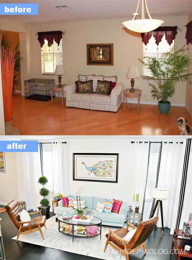 15 thiết kế phòng khách đẹp trước và sau khi sửa chữa