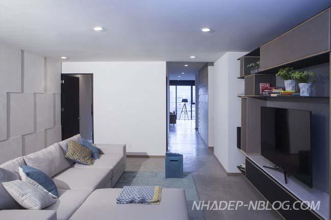Mẫu căn hộ chung cư đẹp với tông màu lạnh