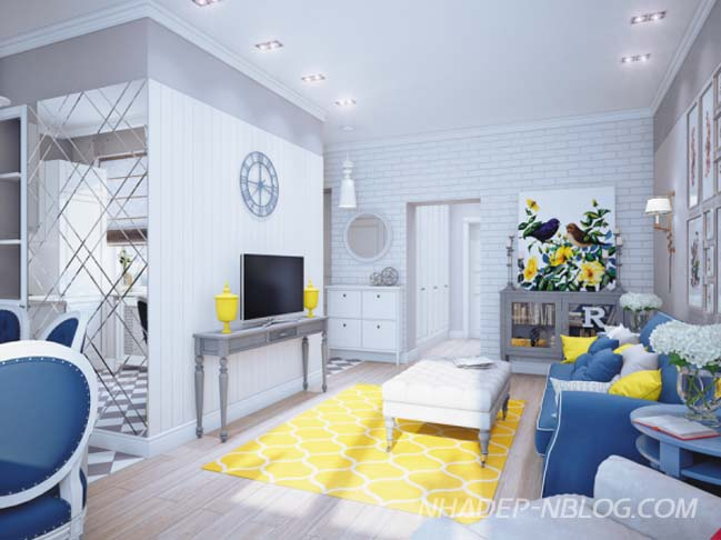 Mẫu nhà đẹp thêm sức sống với 2 màu vàng xanh