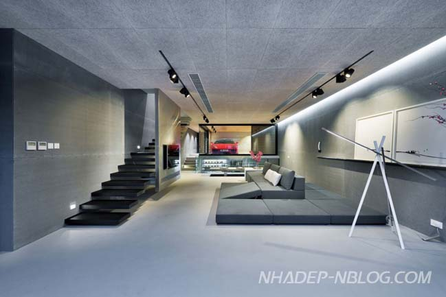 Thiết kế nhà phố siêu đẹp với garage kính trong nhà