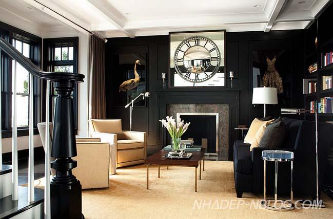 Những mẫu phòng khách đẹp với 2 màu trắng đen