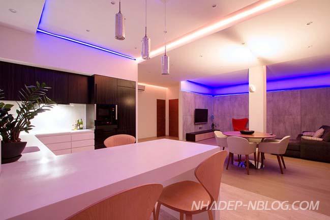 Thiết kế căn hộ với ánh sáng lung linh đổi màu