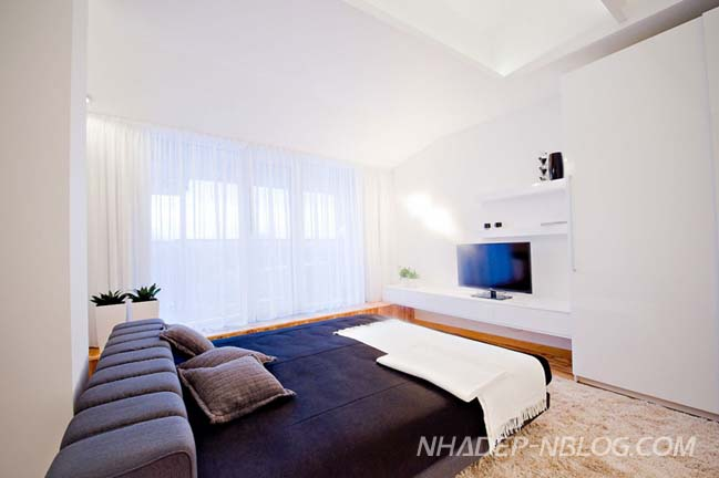 Thiết kế nội thất chung cư với màu trắng chủ đạo