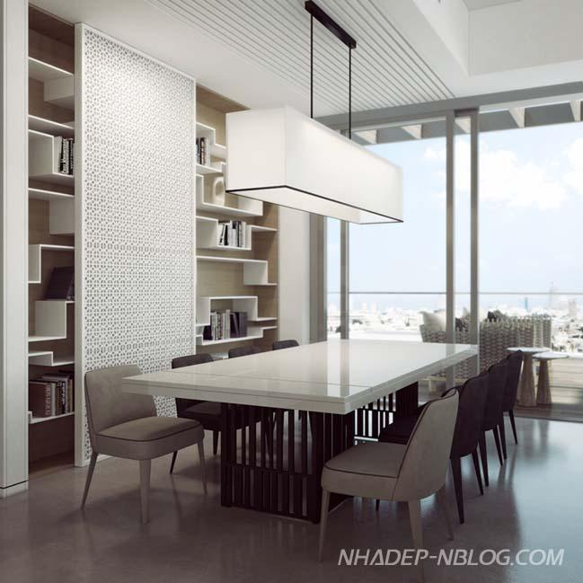 Penthouse sang trọng với sự pha trộn giữa trắng và đen