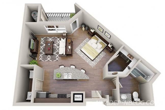 Những mẫu thiết kế nhà nhỏ đẹp 1 phòng ngủ