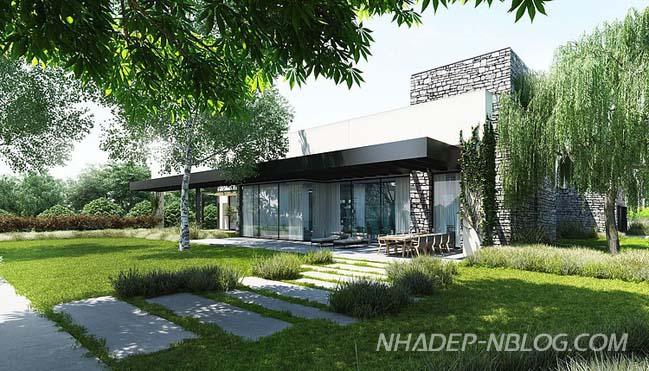 Mẫu biệt thự vườn với ngoại thất bằng đá hiện đại