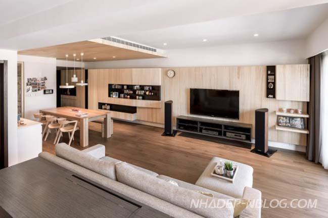 Căn hộ chung cư hiện đại với nội thất gỗ tự nhiên ấm áp