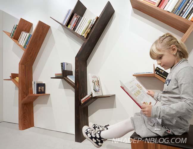 Những chiếc kệ sách với thiết kế cây xanh phá cách