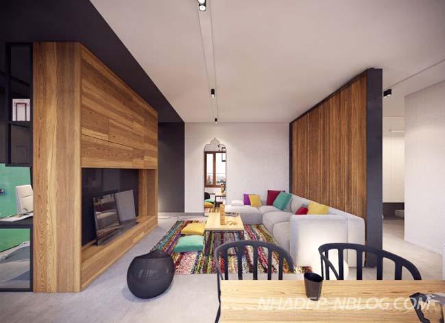 Mẫu nhà đẹp hiện đại với nội thất gỗ mộc mạc