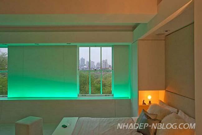 Thiết kế nội thất chung cư với hệ thống đèn LED đổi màu