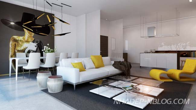 Những mẫu căn hộ chung cư đẹp với điểm nhấn màu vàng