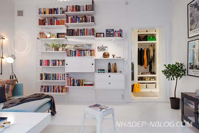 Căn hộ 57m2 với thiết kế nội thất màu trắng