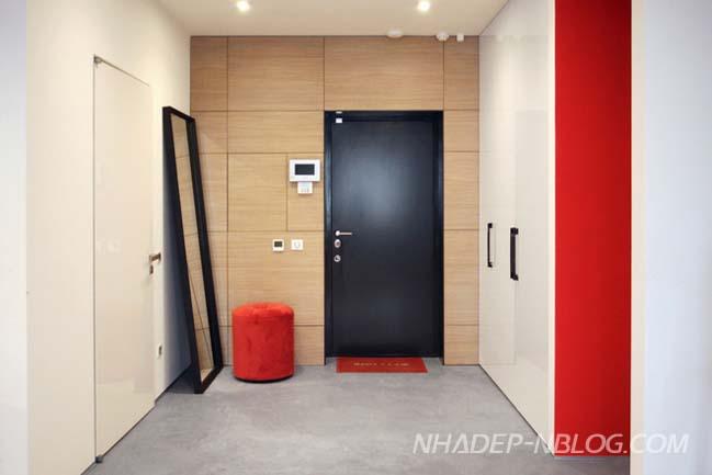Căn hộ chung cư hiện đại với 3 màu đen trắng và đỏ