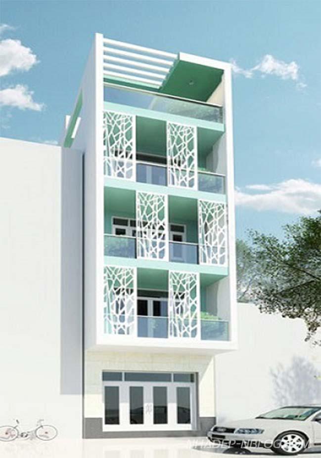 Mẫu nhà phố đẹp với màu xanh ngọc sang trọng