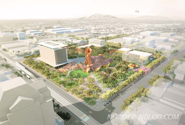 Kiến trúc xanh của trung tâm thành phố Mesa Arizona