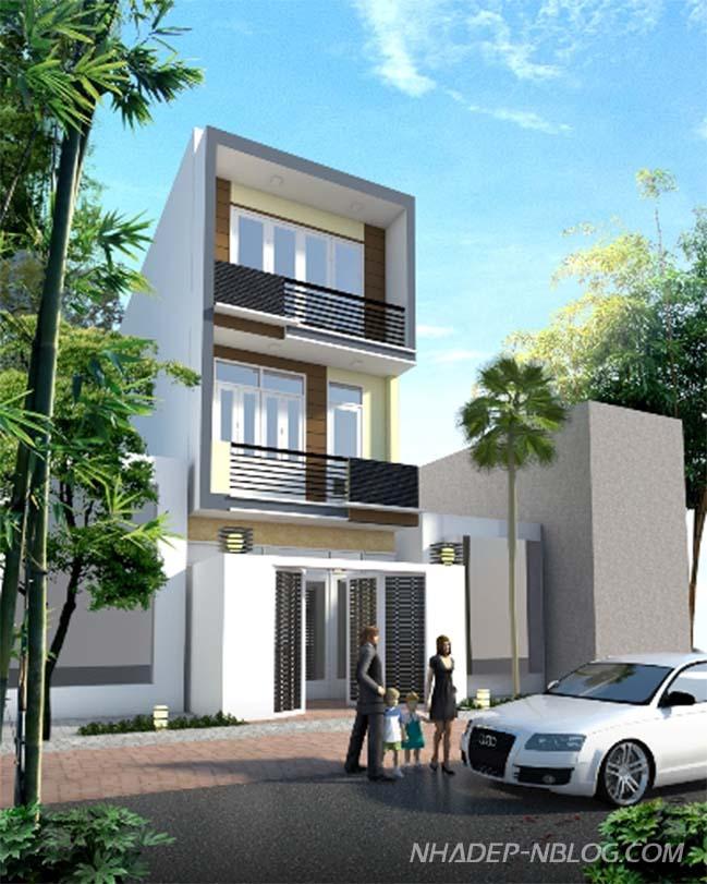 Nhà nhỏ đẹp 3 tầng với thiết kế đơn giản