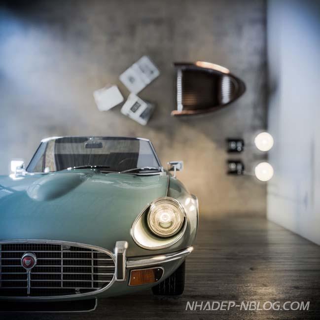 Biệt thự đẹp dùng chiếc xe hơi làm kệ sách