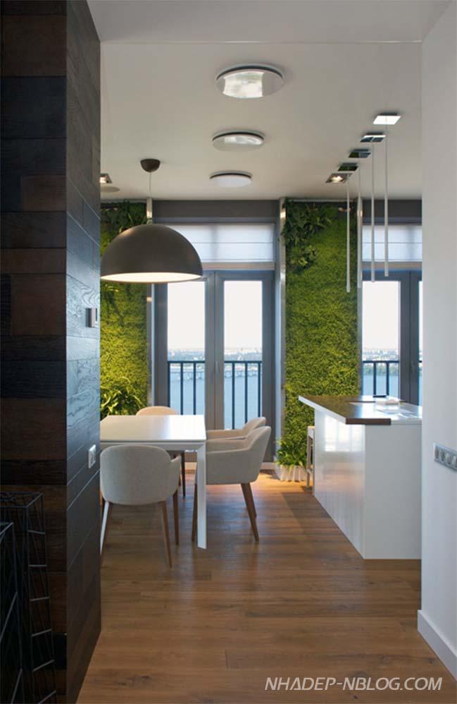 Căn hộ chung cư với những mảng tường xanh độc đáo