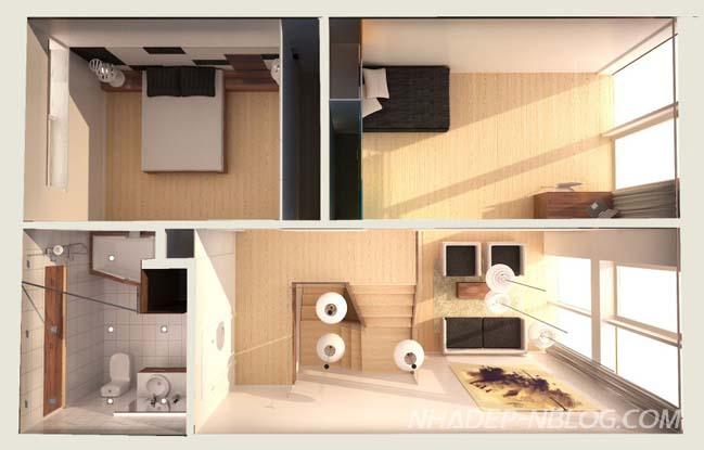 Mẫu nhà phố nhỏ đẹp với nội thất gỗ ấm áp
