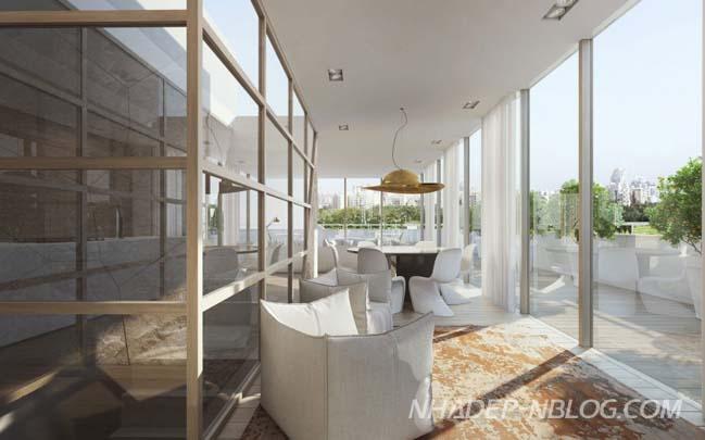 Căn hộ penthouse sang trọng với hồ sen